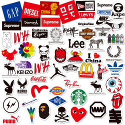60Pcs Personality Logo Stickers Guitar Laptop Skateboard Luggag One Size