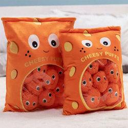 6pcs 8pcs a bag of cheesy puffs toy stuffed soft snack pillow pl 48*38cm