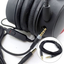 Audio Cable Replacement Headset AUX Cord With Volume Control Fo Black
