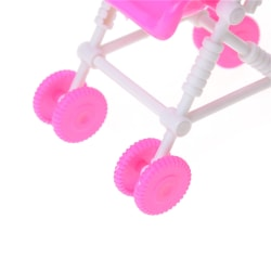 Baby Carriage Stroller Trolley Doll Furniture For Barbie Dolls A Pink 20cm
