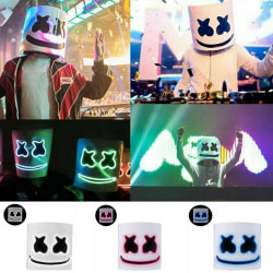 Christmas LED Mask Full Head Music Marshmallow Helmet Cosplay Green one-size