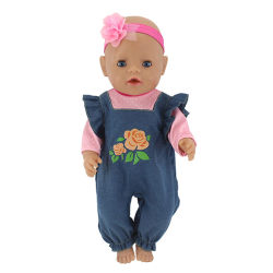 """Handmade doll jumpsuit + headband for 43cm baby doll 17/18"""" doll One Size"""