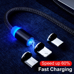 Magnetic 1M Cable Type C Micro USB Fast Data Sync Charging Charg Silver Android Head
