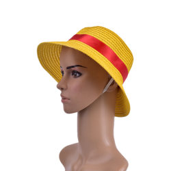 Monkey D Luffy Anime Cosplay Straw Boater Beach Hat Cap Hallowee M(56-58cm)