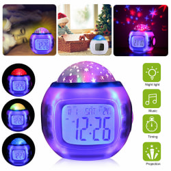Music star Projection Alarm Clock blue screen seven color proje one size