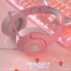 Pink Cat Ear Girl Gaming Headset With Microphone ENC Noise Redu 3.5mm round hole