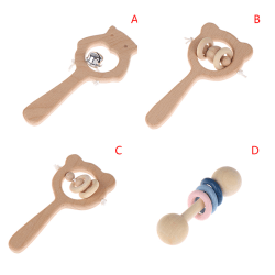 Safety Baby Wood Hand Teething Ring Chew Beads Rattles Montessor D