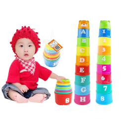 Stack & Nest Plastic Cups Rainbow Stacking Tower Educational Sta
