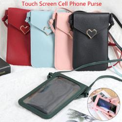 Pekskärm Damväska Mobiltelefon Smartphone Plånbok Läder Sho Black