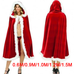 Women Christmas Santa Claus Cloak Costume Red Cape Winter Hooded 150cm