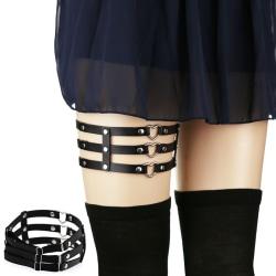 Women Sexy Adjustable Elastic Garter Belt Suspenders Leg Ring PU Black