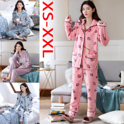 2 pcs/set Winter Thicken Women Warm Soft Pajam Dark Pink M