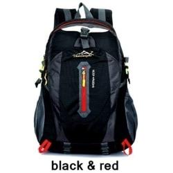 40L Outdoor Travel Backpack Sports Bag  Black & Red 40L
