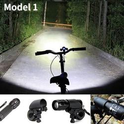 Bike LED Flashlight Torch With Mount Clip Black