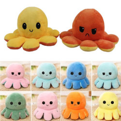 Blue-Purple Cute Flip Reversible Octopus Plush Kid Toys Blue