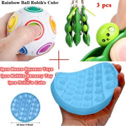 Funny Fidget Toy - 1 Rubik's Cube&1 Bubble Toy&3 Beans Toy