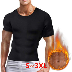 Mens Body Shaper Fitness Sports yoga T-shirt Black L