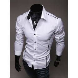 Turn-Down Collar Polyester Patchwork Men Shirt White S