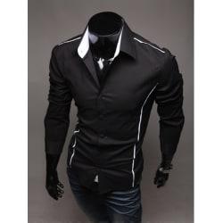 Turn-Down Collar Polyester Patchwork Men Shirt Black XL