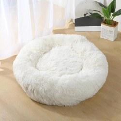 Winter Warm Round Plush Cat Dog Bed House White 50cm