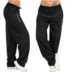 Women Loose Casual Harem Yoga Joggerpant Trous Black XL