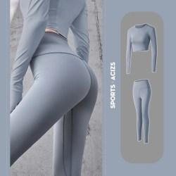Women Seamless Yoga Suit Hip Lifting Gym Pants Blue S