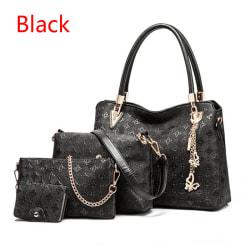 Womens 4 Bag/Set Ladies Handbag Top-Handle  Me Black