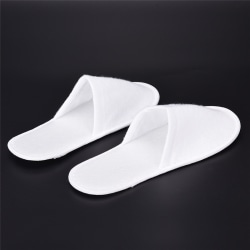 1/5 Pairs White Towelling Open Closed Toe Hotel Slippers Spa Sho White 27cm