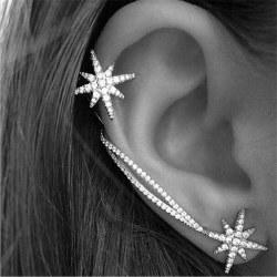 1 par Crystal Star Ear Cuff Rhinestone Ear Clip Metal Stud Ear