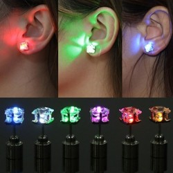 1 Pair Party Charm LED Earring Light Up Crown Glowing Crystal Ea Blue