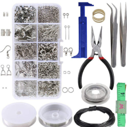 1 Set Large Jewellery Making Kit Pliers Silver Beads Wire Start One Size