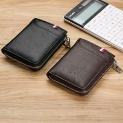 100% äkta läder herr dragkedja plånbok RFID-blockering ID-kort