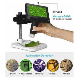 "1000X 4.3"" USB LCD 720P Digital Microscope Video Magnifying Came Black"