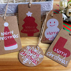 100PCS Kraft Paper Christmas Gift Tags christmas decorations Wit B