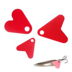 100st plast röd hjärta form paljett för bete sked fiske Lu L
