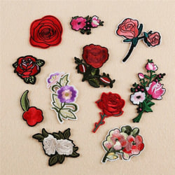 11Pcs Embroidery Rose Flower Sew Iron on Patch on Badge Bag Jean Multicolor 5cm-7cm
