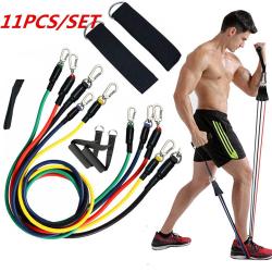 11PCS Resistance Band Set Yoga Pilates Latex Exercise Fitness Tu N2