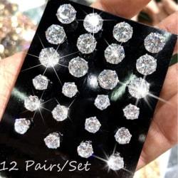 12 par / set mode kristall glänsande bröllop örhängen stateme