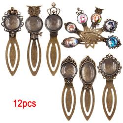 12Pcs 6 Styles Antique Bronze Bookmark Pendant Tray Glass Caboc 12pcs