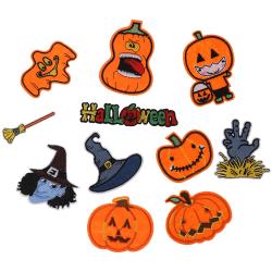 12pcs/set Halloween Pumpkin Embroidery Patches Iron on Skull Clo onesize
