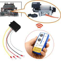 12V Winch Wireless Remote Control Switch Handset Kit Fit Tool Fo Black