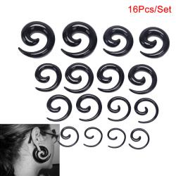 16st / Set Spiral Taper Flesh Tunnel Ear Stretcher Expander Stre Black