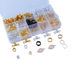 180Pcs/Box Braid Hair Beads Dreadlocks Cuff Clip Beads Rings Fo Multicolor