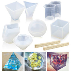 18PCS DIY Silicone Mold Making Jewelry Pendant Resin Casting Mo White