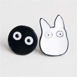 1Pair Women Fashion Cute Cartoon Jewelry Animal Totoro Ear Stud  White+Black One Size