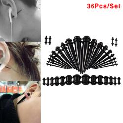 36st akryl öronmätare sträckningssats avsmalnande köttunnlar Plu Black