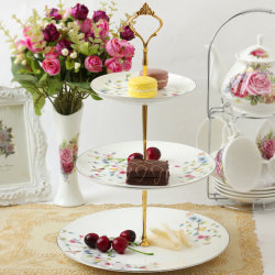 1set New 3 or 2 Tier Cake Plate Stand Handle Fitting Hardware Ro 3Silver
