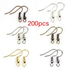 200PCS/Bag Earrings Hook Clasp Ear Hook Wire Bead DIY Jewelry M Gold