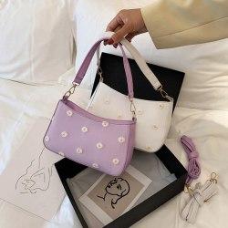 2020 Vintage Fashion Sweet Women Daisy Pattern Handbag Baguette  Purple