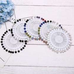30Pcs Colorful Wheel Ball Hijab Scarf Pin Snag-Free Long Sparkle A:Multicolor